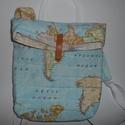 TEXTIL HÁTIZSÁK TÉRKÉP MINTÁVAL kék színben, Táska, Hátizsák, Varrás, Pamutvászonból készített hátizsák,ami kézben is hordható.Nagyon szeretem a térképes anyagokat,így e..., Meska