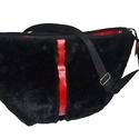Óriás műszőrme táska fekete-piros