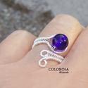 Írisz gyűrű, Ékszer, Gyűrű, Gyönyörű, tintakék üveg gyöngyöt foglaltam be ezüstözött ékszerdróttal. A gyöngy átmé..., Meska