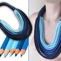 Kék textil nyaklánc, Ékszer, Nyaklánc, Újrahasznosított póló anyagból készült, középhosszúságú textil lánc. Kímélve mosható..., Meska