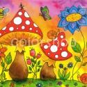Gombák - print A4, Otthon & lakás, Gyerek & játék, Lakberendezés, Dekoráció, Gyerekszoba, Kedves kis kép két piros kalapú gombával, néhány bogárkával és virággal. Tavaszi, nyári esti idill :..., Meska
