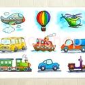 Járművek - tányéralátét A4, Baba-mama-gyerek, Konyhafelszerelés, Edényalátét, Baba-mama kellék, Fotó, grafika, rajz, illusztráció, Mindenmás, Végre a fiúknak is valami ;)  9 különböző jármű. A picik gyakorolhatják a neveiket, a színeket, mik..., Meska