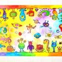 Szörnyecskés tányéralátét A4, Baba-mama-gyerek, Otthon, lakberendezés, Konyhafelszerelés, Edényalátét, Fotó, grafika, rajz, illusztráció, Mindenmás, Ezen a tányéralátéten vidám szörnyecskék masíroznak körbe körbe... :)  Hasznos kellék evéskor, gyur..., Meska