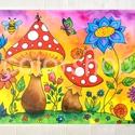 Gombák - tányéralátét (A4), Baba-mama-gyerek, Otthon, lakberendezés, Konyhafelszerelés, Edényalátét, Fotó, grafika, rajz, illusztráció, Mindenmás, Vidd be a vidámságot és a színeket a konyhába (meg ahova csak akarod :))  Ezen az alátéten színes g..., Meska