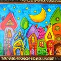 Nagy tányéralátét - Szivárványváros (A3), Baba-mama-gyerek, Otthon, lakberendezés, Konyhafelszerelés, Edényalátét, Fotó, grafika, rajz, illusztráció, Mindenmás, Vidd be a vidámságot és a színeket a konyhába (meg ahova csak akarod :))  Ezen az alátéten szivárvá..., Meska