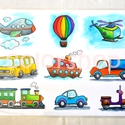 Nagy tányéralátét (A3) - JÁRMŰVEK, Baba-mama-gyerek, Konyhafelszerelés, Edényalátét, Baba-mama kellék, Fotó, grafika, rajz, illusztráció, Mindenmás, Egy tányéralátét kifejezetten fiúknak 9 különböző járművel.  Vannak gyerekek, akiket nehéz az aszta..., Meska
