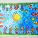 Nagy tányéralátét (A3) - SZIVÁRVÁNYVÁROS, Baba-mama-gyerek, Konyhafelszerelés, Edényalátét, Baba-mama kellék, Fotó, grafika, rajz, illusztráció, Mindenmás, Tányéralátét szivárványos városkámmal.  Itt aztán van mit bogarászni körbe-körbe :) Vidám színek, k..., Meska
