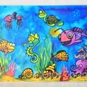 Nagy tányéralátét (A3) - TENGER, Baba-mama-gyerek, Konyhafelszerelés, Edényalátét, Baba-mama kellék, Fotó, grafika, rajz, illusztráció, Mindenmás, Tányéralátét tengeri élőlényekkel.  Vizet és vízi világot imádó gyerkőcöknek!  Vannak gyerekek, aki..., Meska