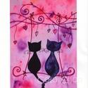 Hintázó cicák - Print A4, Gyerek & játék, Otthon & lakás, Esküvő, Dekoráció, Lakberendezés, Szerelmeseknek, Ünnepi dekoráció, Szerelmes cicák hintáznak a szívfára kötött hintán :)  Kedves ajándék lehet bárkinek, akit szeretsz,..., Meska