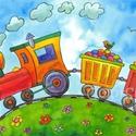 Kis vonat - A4 print, Baba-mama-gyerek, Otthon, lakberendezés, Gyerekszoba, Falikép, Fotó, grafika, rajz, illusztráció, Mindenmás, A kis pöfivonat elindult a naaagy cukorkaszállítmánnyal, hogy majdnem minden gyerekszobában hagyjon..., Meska