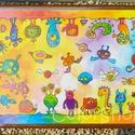 Nagy tányéralátét  A3 - SZÖRNYECSKÉK, Baba-mama-gyerek, Otthon, lakberendezés, Konyhafelszerelés, Edényalátét, Fotó, grafika, rajz, illusztráció, Mindenmás, Ezen a tányéralátéten vidám szörnyecskék masíroznak körbe körbe... :)  Vannak gyerekek, akiket nehé..., Meska