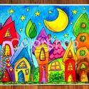 Szivárványváros éjjel - nagy, A3-as print, Gyerek & játék, Otthon & lakás, Lakberendezés, Dekoráció, Gyerekszoba, Szivárvány színű mese városkám másolata.  A printeket azoknak ajánlom, akik az eredeti akvarelleknél..., Meska