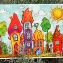 Szivárványváros - nagy, A3-as print, Gyerek & játék, Otthon & lakás, Lakberendezés, Dekoráció, Gyerekszoba, Szivárvány színű mese városkám másolata.  A printeket azoknak ajánlom, akik az eredeti akvarelleknél..., Meska