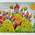 Nagy tányéralátét - Szivárványváros dombokon (A3), Baba-mama-gyerek, Otthon, lakberendezés, Konyhafelszerelés, Edényalátét, Fotó, grafika, rajz, illusztráció, Mindenmás, Vidd be a vidámságot és a színeket a konyhába (meg ahova csak akarod :))  Ezen az alátéten dombokon..., Meska
