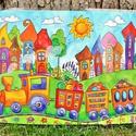 Nagy tányéralátét - Szivárványváros és kisvonat (A3), Baba-mama-gyerek, Otthon, lakberendezés, Konyhafelszerelés, Edényalátét, Fotó, grafika, rajz, illusztráció, Mindenmás, Vidd be a vidámságot és a színeket a konyhába (meg ahova csak akarod :))  Szivárványváros ezen a ké..., Meska