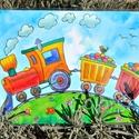 Kis vonatos tányéralátét A4, Baba-mama-gyerek, Otthon, lakberendezés, Konyhafelszerelés, Edényalátét, Fotó, grafika, rajz, illusztráció, Mindenmás, Erre a tányéralátétre egy kis színes gőzös vonat került, ami színes cukorkákat szállít. Egy kis mad..., Meska
