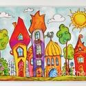 """Nagy tányéralátét - """"Virágos"""" Szivárványváros (A3), Baba-mama-gyerek, Otthon, lakberendezés, Konyhafelszerelés, Edényalátét, Fotó, grafika, rajz, illusztráció, Mindenmás, Vidd be a vidámságot és a színeket a konyhába (meg ahova csak akarod :))  Szivárványváros sok virág..., Meska"""