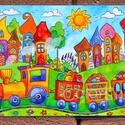 Tányéralátét A4 - Szivárványváros és kisvonat, Baba-mama-gyerek, Otthon, lakberendezés, Konyhafelszerelés, Edényalátét, Fotó, grafika, rajz, illusztráció, Mindenmás, Vidd be a vidámságot és a színeket a konyhába (meg ahova csak akarod :))  Szivárványváros ezen a ké..., Meska