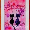 Hintázó cicák - A3-as print, Gyerek & játék, Otthon & lakás, Esküvő, Dekoráció, Lakberendezés, Szerelmeseknek, Ünnepi dekoráció, Szerelmes cicák hintáznak a szívfára kötött hintán :)  Kedves ajándék lehet bárkinek, akit szeretsz,..., Meska