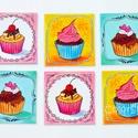 Poháralátét - Cupcake (6db-os készlet), Baba-mama-gyerek, Konyhafelszerelés, Otthon, lakberendezés, Edényalátét, Fotó, grafika, rajz, illusztráció, A tányéralátéteket kiegészítendő készítettem poháralátét készleteket is.  Ez itt a cupcake-ek készl..., Meska
