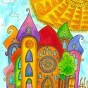 Álló Szivárványváros (04) - nagy eredeti akvarell (40x30 cm), Otthon, lakberendezés, Dekoráció, Képzőművészet, Festmény, Fotó, grafika, rajz, illusztráció, Festészet, Időnként álló formátumban is megfestem Szivárványvárost. Ez is egy ilyen alkalom volt.  Középen egy..., Meska