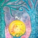 """A kék erdő - eredeti akvarell A3 (42x30 cm), Otthon, lakberendezés, Dekoráció, Képzőművészet, Festmény, Fotó, grafika, rajz, illusztráció, Festészet, Egy elég spontán ihlet folytán született meg ez a kép. Egyszerűen csak """"muszáj volt"""" megfestenem :)..., Meska"""