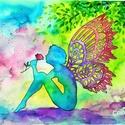 Tündér a tisztáson  - eredeti akvarell A4, Dekoráció, Otthon, lakberendezés, Képzőművészet, Festmény, Festészet, Fotó, grafika, rajz, illusztráció, Hangulatos kép tündérrel a főszerepben.    Akvarellel készült jó minőségű, vastag akvarell papírra...., Meska