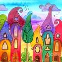Szivárványváros naplementében (05) - eredeti akvarell A4, Otthon, lakberendezés, Dekoráció, Baba-mama-gyerek, Gyerekszoba, Fotó, grafika, rajz, illusztráció, Festészet, Sosem festettem még Szivárványvárost naplementés háttérrel, hát épp itt volt az ideje :) Vidd haza ..., Meska