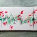 Festmény/ 3 részes/Virágzó cserje, Művészet, Festmény, Akril, Festészet, Színesedő levelek közt piros virágok. A kép 3 részből áll: 2db 30x30-as és 1db 30x40-es feszített v..., Meska