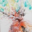 Akrilfestmény/Életfa I., Otthon & Lakás, Dekoráció, Kép & Falikép, Festészet, Kérges, öreg fa zöld lombkoronával 30x30 cm-es vásznon. Absztrakt festmény. Nagyobb méretben is vál..., Meska