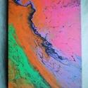 Korallzátony/Festmény/Akril/Absztrakt, Művészet, Festmény, Akril, Festészet, Extrém színkombinációval megfestett akrilfolyatásos festmény 50x40 cm-es feszített vásznon. Azoknak..., Meska
