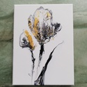 Arany tulipán /Festmény /Fluid art, Művészet, Festmény, Akril, Festészet, Akrilfestékkel, fluid art technikával készült, absztrakt festmény feketével és arannyal. Kb 20x30 c..., Meska