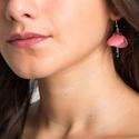 Pink charm - bőr fülbevaló , Ékszer, óra, Fülbevaló, Különleges technikával kialakított bőr és nikkelmentes fém kombinációjával készült éksz..., Meska