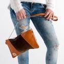 Shiny browns - valódi bőr és szőr táska, Táska, Válltáska, oldaltáska, A táskám valódi bőr és szőr kombinációja. Jól pakolható lap kistáska a mindennapokra. Hor..., Meska