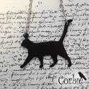 Fekete sétáló cica nyaklánc, Ékszer, Medál, Nyaklánc, Ezt az alumíniumból készült fekete cica nyaklánc nagyon könnyű és egyedi, bolondos viselet. Ajánlom ..., Meska