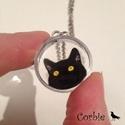 Sárgaszemű fekete cica nyaklánc, Ékszer, Nyaklánc, Ezt a bolondos cicás nyakláncot azoknak készítettem, akik szeretik a cicákat és a fekete macskáktól ..., Meska