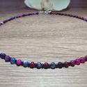 Színes agate nyaklánc, Ékszer, óra, Nyaklánc, A nyaklánc acélsodronyra került felfűzésre, 4-es méretű színes agate ásványból és fekete..., Meska