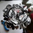 Képregény csokor - fekete-fehér, Dekoráció, Csokor, Fekete-fehér képregénylapokból készült papírrózsa csokor. 19 cm magas. A minicsokorban 5 db ..., Meska