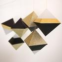 Geometrikus karácsonyfadísz csomag - arany-fekete (6 db/csomag)