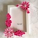 Képkeret kanzashi virágokkal, Dekoráció, Otthon, lakberendezés, Képkeret, tükör, 10*15 cm kép kerete, a készen vásárolt keretre szaténszalagból készítek virágokat, melyeket..., Meska