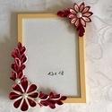 Képkeret kanzashi virágokkal, Otthon, lakberendezés, Dekoráció, Képkeret, tükör, Dísz, Mindenmás, 13*18 cm kép kerete. Készen vásárolt képkeretet díszítek ki saját kézzel készült kanzashi virágokka..., Meska