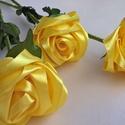 Szatén örök rózsaszál, Otthon, lakberendezés, Dekoráció, Csokor, Szaténszalagból készítek rózsát, amit igyekeztem, hogy teljesen élethű legyen. Örök emlék Édesanyána..., Meska