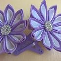 Hajcsat szaténvirággal, Ruha, divat, cipő, Hajbavaló, Hajcsat, Lányka hajcsat szaténszalagból készült kanzashi virágokkal díszítve. A virág mérete kb 5 c..., Meska