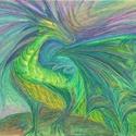 Smaragd sárkány, Képzőművészet, Festmény, Grafika, Illusztráció, Festészet, Fotó, grafika, rajz, illusztráció, Olajpasztell grafikámról készült, giclée művészi nyomat, az eredeti pontos reprodukciója - a zöld s..., Meska