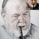 Idős férfi portré - digitális fényképről készített, A3 méretű, olajpasztell ceruzával készült, monocróm grafika, Képzőművészet, Otthon, lakberendezés, Grafika, Rajz, Fotó, grafika, rajz, illusztráció, Egyedi megrendelésre készült grafika.  Méret: A4 Technika: ceruza rajz  Ha te is szeretnél ilyet, v..., Meska