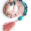 SUNRISE 108 szemes türkiz és pink ásványgyöngyös szivcsakra mala nyaklánc