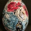 Húsvéti óriás tojás, Dekoráció, Húsvéti apróságok, Dísz, Ünnepi dekoráció, Decoupage, szalvétatechnika, Festett tárgyak, A tojások mérete 16 cm. Alapja polisztirol. Decoupage technikával kézzel festve ill. repesztő lakka..., Meska