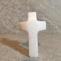Zsebkereszt, fehér márvány. , Fehér thassosi márvány kis kereszt. Zsebben kö...