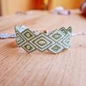 Rhombus Shine - Peyote karkötő - Pastel Green, Ékszer, Karkötő, Széles karkötő, Ékszerkészítés, Gyöngyfűzés, gyöngyhímzés, A karkötő hossza 17.8 cm, szélessége 2,8 cm.   -- Kérlek nagyítsd ki a képeket, s úgy jobban láthat..., Meska