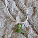 swarovski köves angyal medál és nyakálnc, Ékszer, Medál, Nyaklánc, Swarovski gyöngyből és zöld jáde gyógykőből készítettem ezt az angyalkás medált , fehér..., Meska